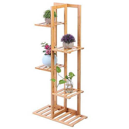 EBTOOLS Soporte de Plantas Alto, Estantería para Macetas Flores de Bambú Plantador Rack...
