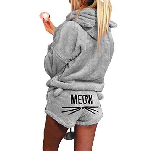 Minetow Herbst Winter Pyjamas Damen Mädchen Zweiteiler Ensembles de Pyjama Warm Coral Fleece Samt Nachtwäsche Süße Katze Weich Kapuzenpullover Hoodies und Shorts Grau DE 36