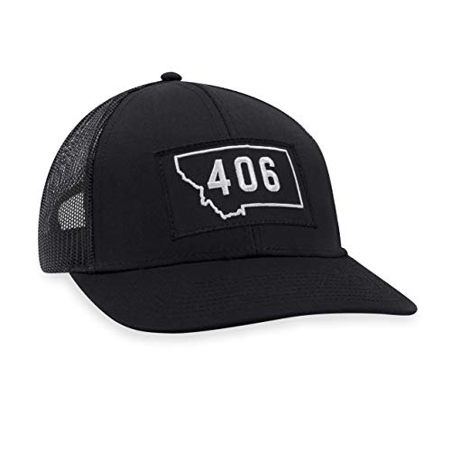 Montana Hat – 406 Trucker Hat Baseball Cap Snapback Golf Hat (Black)