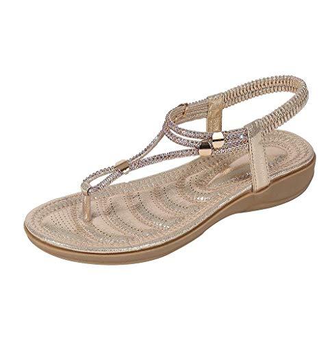Tomatoa Damen Sandalen, Frauen Zehentrenner Flache Flip Flops Sommer Sandalen Bohemia Sommerschuhe Urlaub Strand Schuhe mit Strass Größe 36-42