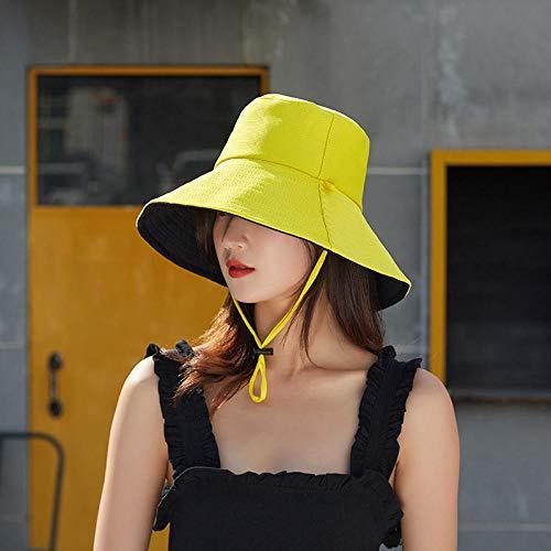 ZXHMZ Sonnenhüte Strandhut Sonnenschutz Hut Fischerhut weiblicher Hut mit großer Krempe Sonnenhut Sonnenhut-Leuchtend gelb_M.