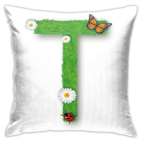 ETHAICO Caps T with Flourishing Fragrance Botanical Design and Ladybug Girls Theme Home Brilliant Plush Fabric Winter Decorative Pillow Covers Square Couch Cushion Cover Pillowcases