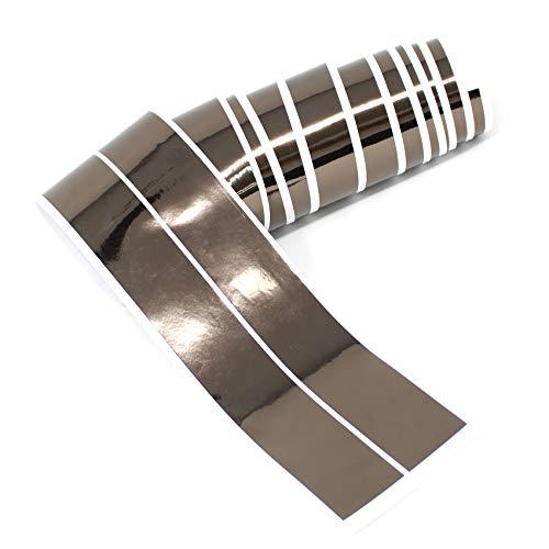 Chrom Hologramm Zierstreifen Folie Klebefolie Aufkleber Dekorstreifen KX010 (Chrom Schwarz, 4Meter x 30mm)