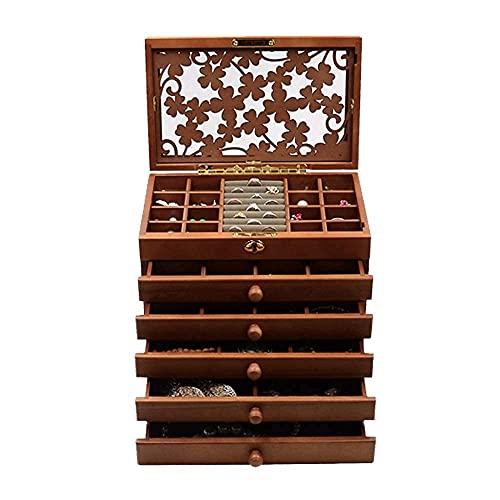 JIANGCJ Bonita caja de joyería organizador de joyas de ante transparente caja de joyería pendientes anillos brazalete pulsera collar almacenamiento caja Ewarrow