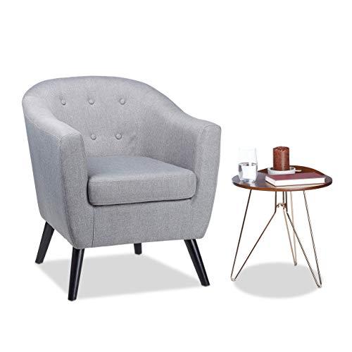 Fauteuil Cocktail Retro, années 50 Chaise Salon Vintage, accoudoirs Coussin, HxlxP: 77 x 67,5 x 65 cm, Gris