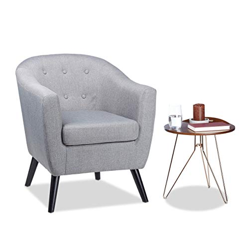 Relaxdays, grau Cocktailsessel 50er, weich, bequem, abnehmbares Sitzkissen, runder Clubsessel, HxBxT: 77 x 67,5 x 65 cm, Standard