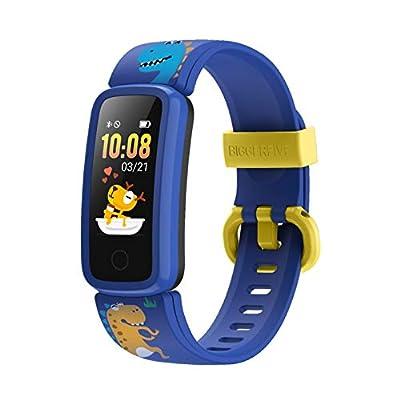 BIGGERFIVE Fitness Tracker Watch for Kids Girls Boys Teens, Activity Tracker, Pedometer, Heart Rate Sleep Monitor, Vibrating Alarm Clock, IP68 Waterproof Calorie Step Counter Watch - Pattern Blue
