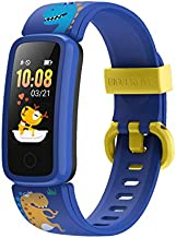 BIGGERFIVE Fitness Tracker Watch for Kids Girls Boys Teens, Activity Tracker, Pedometer, Heart Rate Sleep Monitor, Silent Alarm Clock, IP68 Waterproof Calorie Step Counter Watch - Pattern Blue