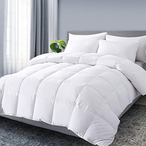 DOWNCOOL Queen Down Comforter, White Goose Duck Down and Feather Filing, Medium Warmth All Season 100% Cotton Quilted Duvet Insert Queen