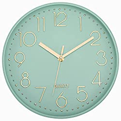 Lumuasky Modern Wall Clock, Silent Non-Ticking Battery Operated Decorative Clock for Living Room Bedrooms Office Kitchen (Green Gold, 12 inch)