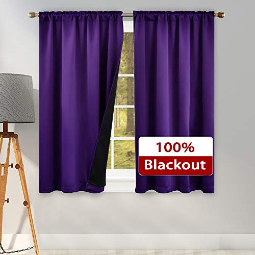KEQIAOSUOCAI 45 Inch Length 100 Pct Blackout Curtains for Bedroom - 2 Thick Layers Completely Blackout Thermal Insulated Black Lined Drapes for Living Room(Purple 42 Inches Wide 2 Panel)