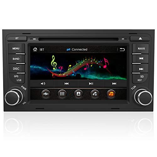AWESAFE Autoradio mit Navi für Audi A4 Unterstützt DAB+ CD DVD SD Bluetooth MirrorLink Lenkradsteuerung 2 Din RDS Radio
