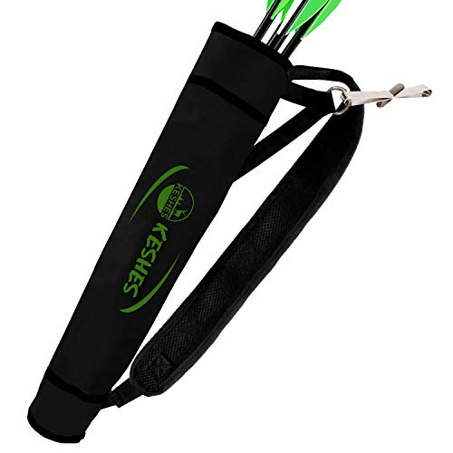 KESHES Archery Back Arrow Quiver Holder - Adjustable Quivers for Arrows, for Bow Hunting and Target Practicing; Youth and Adults (Black)