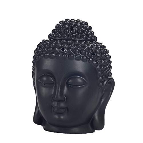APAN Translucent Buddha Head Aromatherapy Diffusers Home Bedroom Decor Gift,Ceramic Buddha Head Statue Essential Oil Burner Black 10 10 14cm