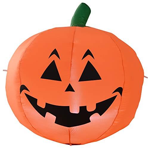 HOMCOM Halloween Dekoration Selbstaufblasender Kürbis LED Beleuchtung
