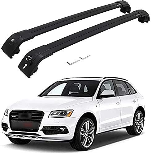 Coche Bacas Barra Transversal para Audi Q5 2012-2017, Barras portadoras de aluminio Portaequipajes Bastidores de bicicletas Accesorios de estilo de coche