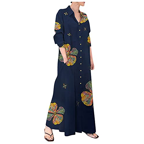 SHYQIN Dresses for Women Plus Size Women Floral Print Color Button Neck Shirt Ankle Dress Casual Long Sleeve Dress with Pocket Navy