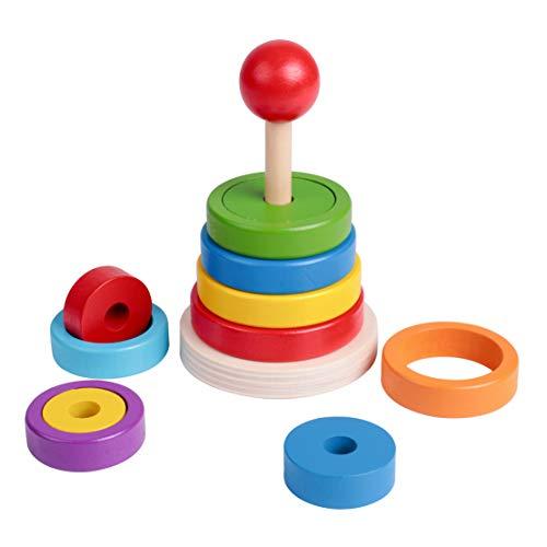 Lamlingo Pyramide Spielzeug Holzspielzeug,Farbring Stapelturm Baby Spielzeug,Montessori Entwicklung Lehrreich Nesting Toy für Kleinkind Kind zum Sortieren und Stapeln, Holzspielzeug ab 12 Monaten