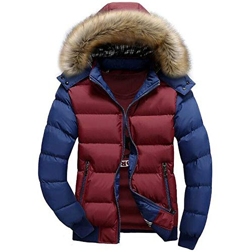 TranRay Men Winter Warm Fur Hooded Parka Coat Padded Bubble Puffer Quilted Casual Jacket (Red Blue,L)
