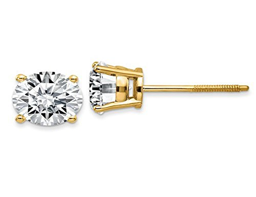 2 ct con diamante solitario orecchini in oro giallo 14 K vite posteriore (g color vvs1-vvs2 Clarity)