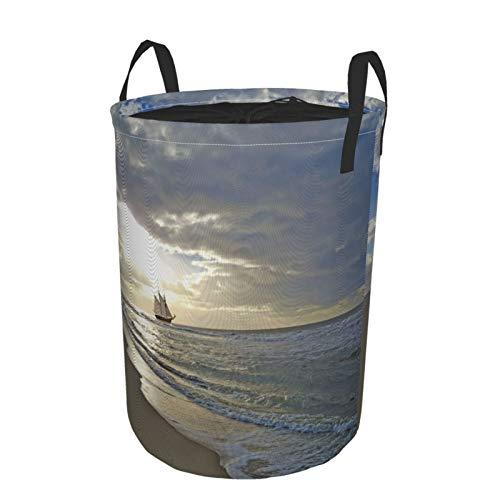 MAYBELOST Plegable Grande Cesto de Ropa Sucia para el Hogar,Un velero Cerca de la Playa en Moody Sunset,Lavandería Cesta de Almacenaje Impermeable con Cordón,14' x 19'