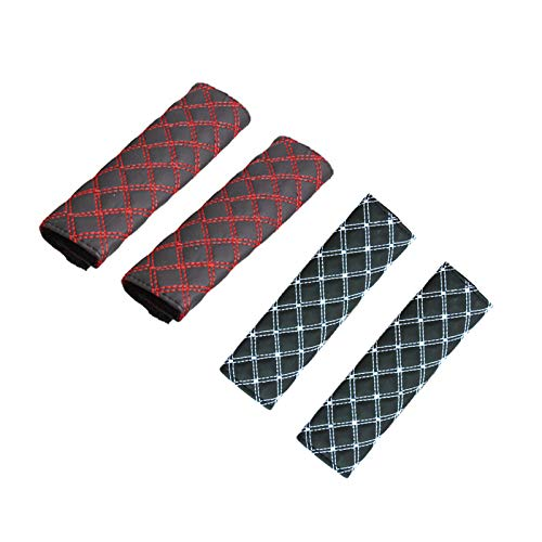 4 piezas Acolchado del cinturón de seguridad en el coche Almohadillas Protectores de Coche Hombro Extraíble y lavable, fácil de limpiar para que su cansado viaje sea más cómodo (Rojo Negro Bla