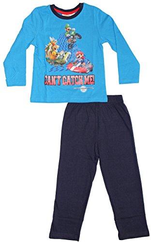 Nintendo Super Mario Kollektion 2015 Schlafanzug Jungen Pyjama Neu Lang Kart WII blau (104)