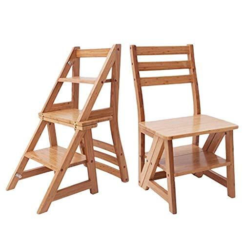 DNSJB - Taburete plegable multifuncional de madera maciza, doble uso, para el hogar, taburete de escalera de tres escalones
