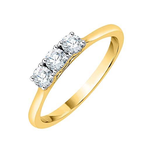 KATARINA Anillo de compromiso de diamantes de tres piedras en oro de 14 K (1/4 cttw, J-K, SI2-I1)