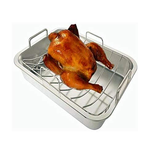 Larew Backbleche Edelstahl Backform mit einem Gestell Für die Küche|41.5x31.5x9CM