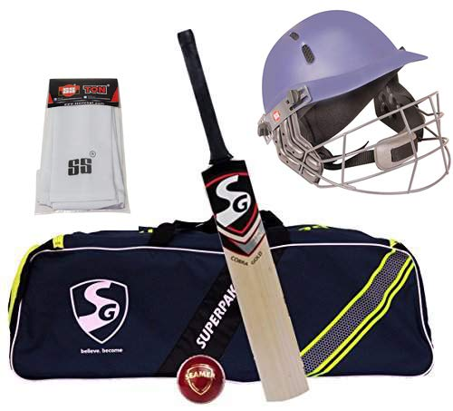 SG Cobra Gold Seamer Superpak Kit de críquet (1 Cobra Gold Kashmir Willow Cricket Bat (Mango Corto) + 1 Seamer Leather Ball + 1 Superpak Kit Bag+ 1 SS Heritage Casco + 1 SS FiLEDing Sleeve)