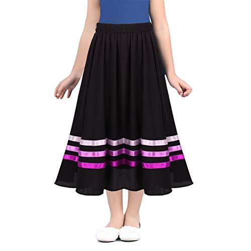 iiniim Falda Larga de Danza Nina Infantil Disfraz de Baile Flamenco Sevillanas Tango Bailarina Vestido de Danza Ballet Fiesta Cintura Elstica Falda de Gasa para Nias Chicas Rosa 10 Aos