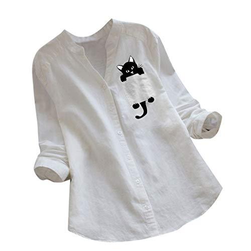 KUDICO - Camisas de lino para mujer, diseño de gato con estampado de manga larga, con botones Negro 3-Blanco...