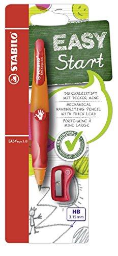 Ergonomischer Druck-Bleistift für Rechtshänder - STABILO EASYergo 3.15 in orange/rot - Einzelstift - inklusive 1 dicken Mine - Härtegrad HB & Spitzer
