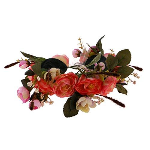 Hellery Elegante Dame Mädchen Cluster Haarband Kopfbedeckung Haar Zubehör - Rosa Orange