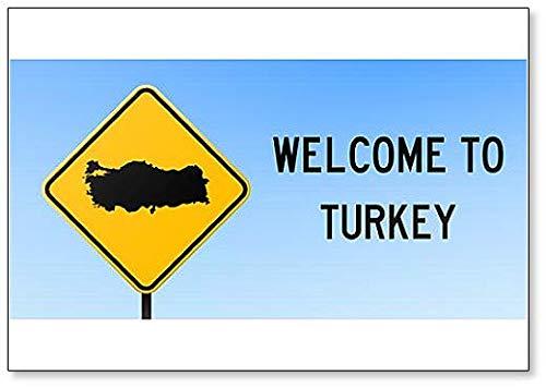 Welkom bij Turkije Map on Road Sign Illustration Koelkast Magnet