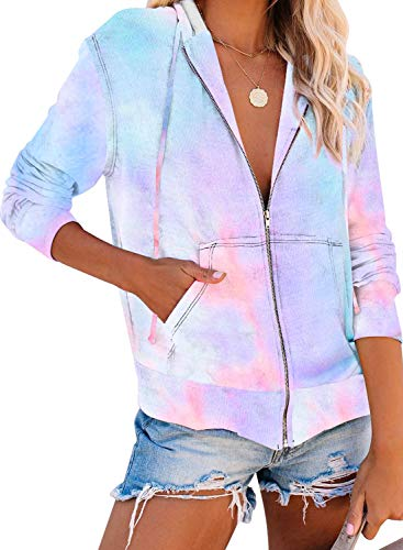 Sidefeel Women Long Sleeve Zip-Up Hoodie Jacket Tie Dye Sweatshirt Coat Small Light Blue