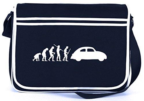 Shirtstreet24, EVOLUTION KULT AUTO, Retro Messenger Bag Kuriertasche Umhängetasche, Größe: onesize,Navy