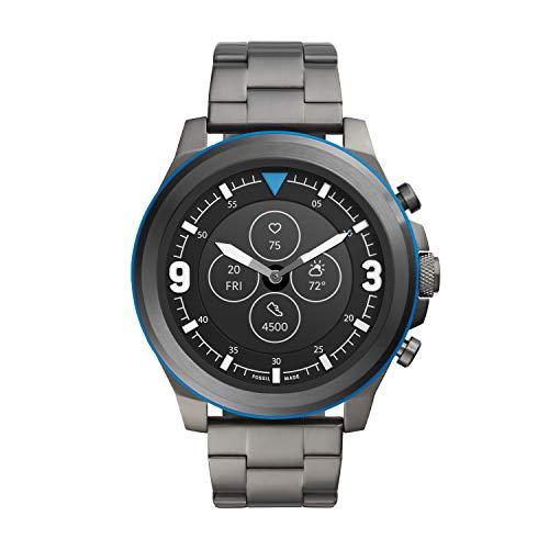 Fossil Men's 50MM Latitude HR HR Heart Rate Stainless Steel Hybrid HR Smart Watch, Color: Gunmetal/Blue (Model: FTW7022)