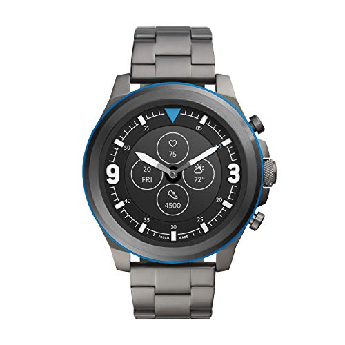 Fossil Men's 50MM Latitude HR HR Heart Rate Stainless Steel Hybrid HR Smart Watch, Color: Gunmetal/Blue (Model: FTW7022)