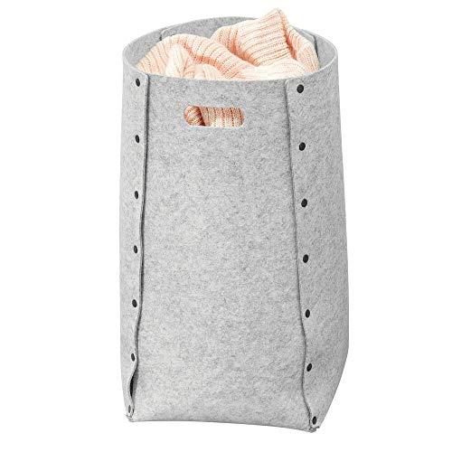 mDesign Cubo para colada de polipropileno transpirable – Cesto para ropa sucia de diseño para el lavadero, cuarto de baño o dormitorio – Bolsa para guardar ropa plegable y con asa – gris claro