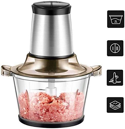 N\A Mini Küchenmaschinen Choppers, 2L Elektro-Fleischwolf Fleischwolf, 2-Gang-Smart Kitchen Chopper, Glasschüssel und 4 Bi-Level-Blades for Babynahrung, Fleisch, Gemüse, Obst und Nüsse
