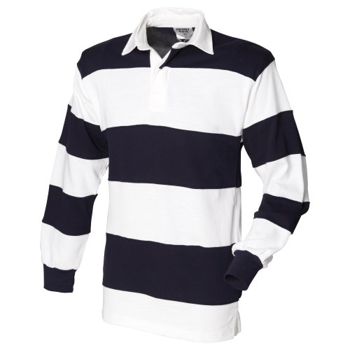 Front Row Sewn Stripe Long Sleeve Sports Rugby Polo Shirt (L) (White & Navy (White Collar))