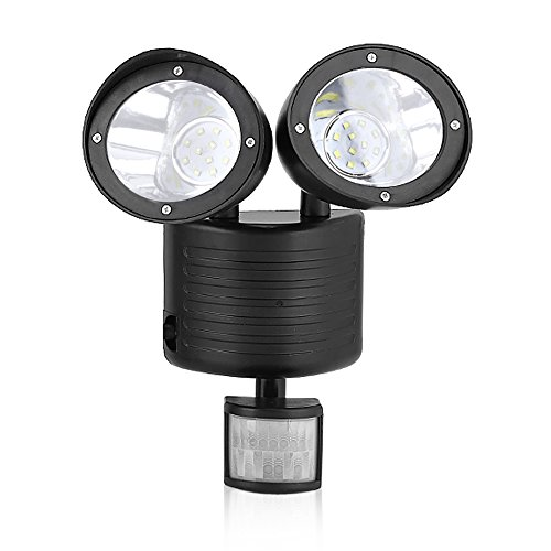 Yosoo LEDソーラーライト 人感センサーライト 2灯式 ポットライト センサーライト 調整可能 壁ライト 屋外照明 玄関 壁掛け照明