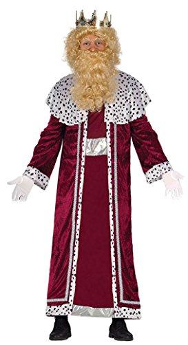 Guirca- Disfraz Rey Mago Gaspar Adulto, Color rojo, talla L (42401.0)