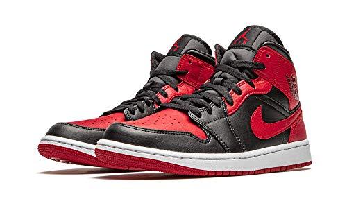 Nike - Zapatillas Air Jordan 1 Mid Banned, 554724 074, de color negro, rojo y blanco, para hombre, color, talla 43 EU