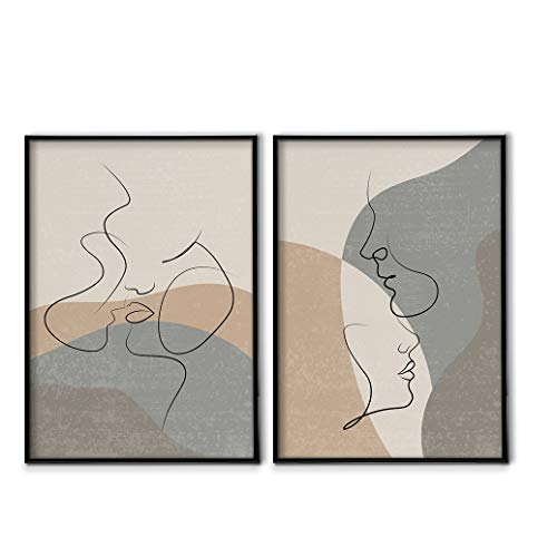DON LETRA Juego de 2 Láminas Decorativas para Enmarcar, A3/A4, Pareja Arte Abstracto, Cuadros Modernos para Decoración de Salón y Dormitorio, 100% Políester, sin Marcos, LZ-009