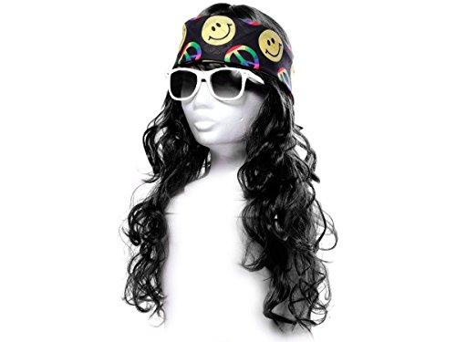 Alsino Déguisement Look Hippie (KV-84) Ensemble de 3 Accessoires: Perruque Longue Cheveux, Lunettes et Bandana Multicolore Peace and Love