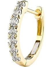 [アトラス] Atrus ピアス メンズ 片耳 18金 イエローゴールドk18 天然ダイヤモンド フープピアス 中折れ式 4月誕生石 天然石
