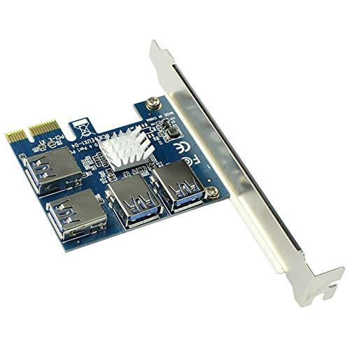 Pcie 1 a 4 Pci-express, Pcie Riser Card 16x Slots Placa de expansão PCI PCI-E 1x para externo 4 PCI-E USB 3.0 Adaptador Placa Multiplicadora Dispositivo Bitcoin Mining para Bitcoin Miner